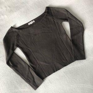 Olive wide neck ribbed knit longsleeve